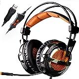 SADES A6 7.1 Surround Sound Stereo Gaming Headset USB PC-Spiele Headsets Kopfhörer mit HiFi-Mikrofon Over-the-Ear Lautstärkeregelung Fernbedienung Over-the-Ear Breathing LED-Leuchten (galvanische Version)
