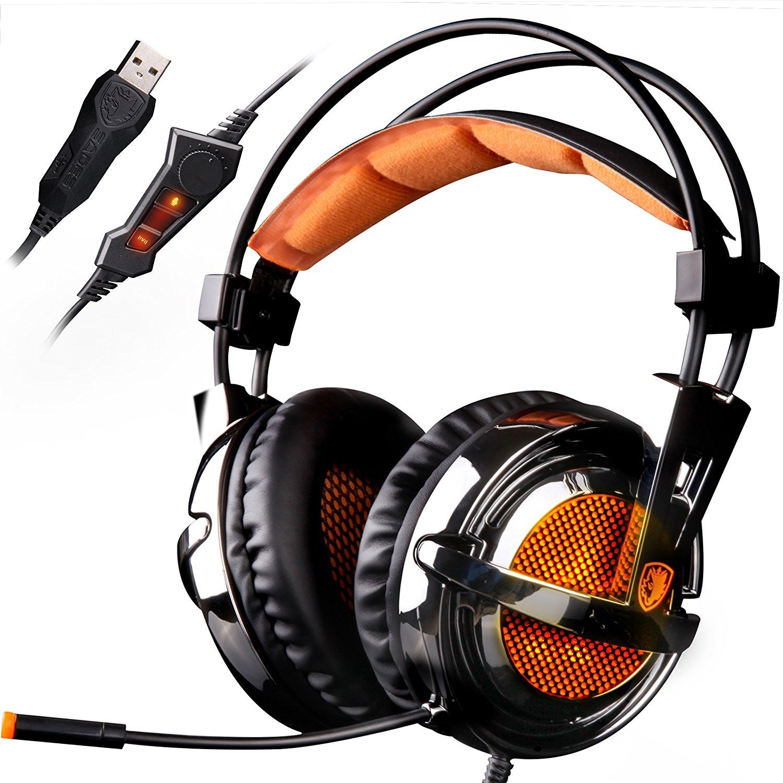 SADES A6 7.1 Surround Sound Stereo USB PC-Gaming-Headsets, Kopfhö rer mit HiFi-Mikrofon, Lautstä rkeregler ü ber dem Ohr, ferngesteuerte ohrumschließ ende LED-Beleuchtung (galvanische Version) SHENZHEN SADES DIGITAL TECHNOLOGY CO. LTD.