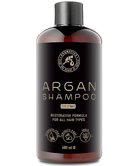 Champú de aceite de argán para hombre 480 ml con aceite de argán natural y extractos