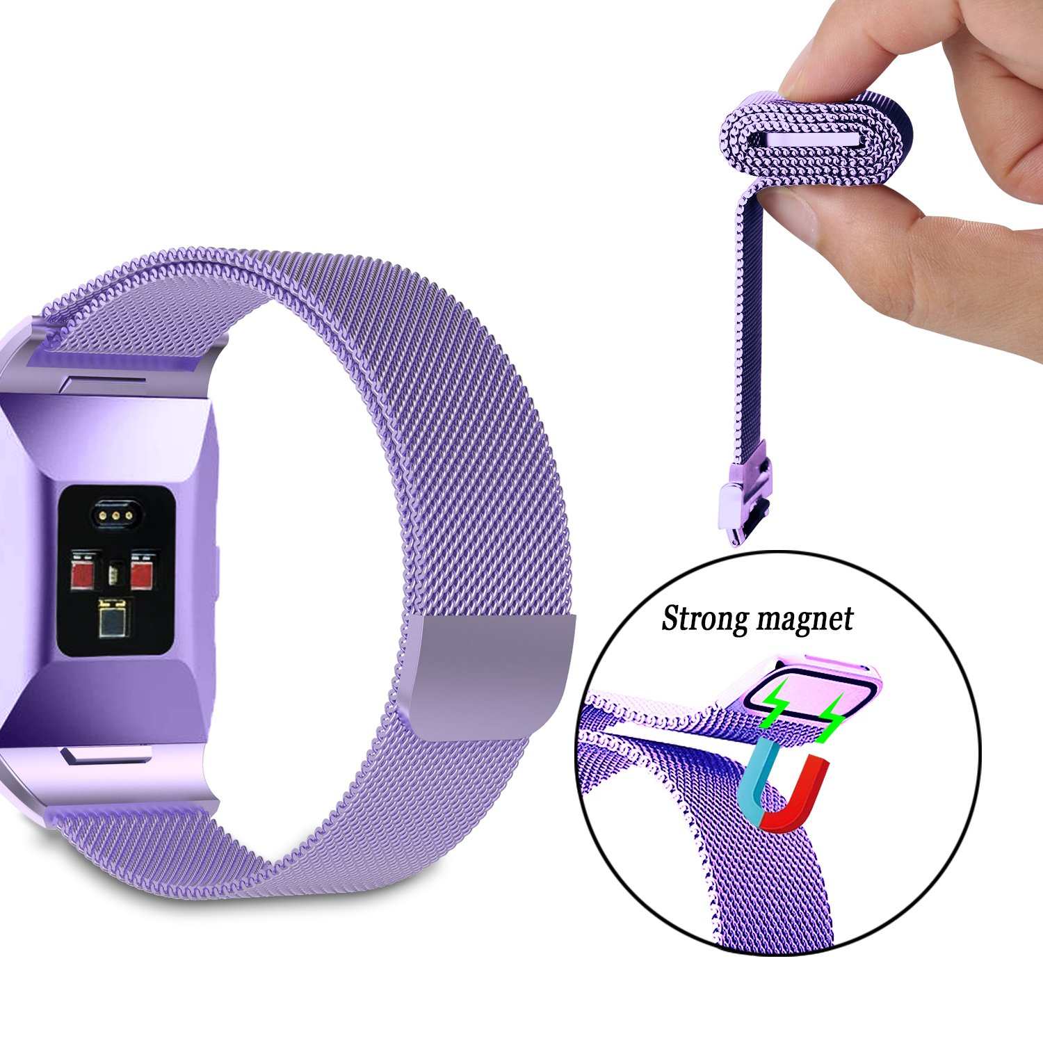 Rose Gold Magnetic Clasp Lock Wristband Strap Women Men Large Small Silver Rose Pink Milanese Stainless Steel Mesh Metal Replacement Band for Fitbit Ionic KingAcc Compatible Fitbit Ionic Bands