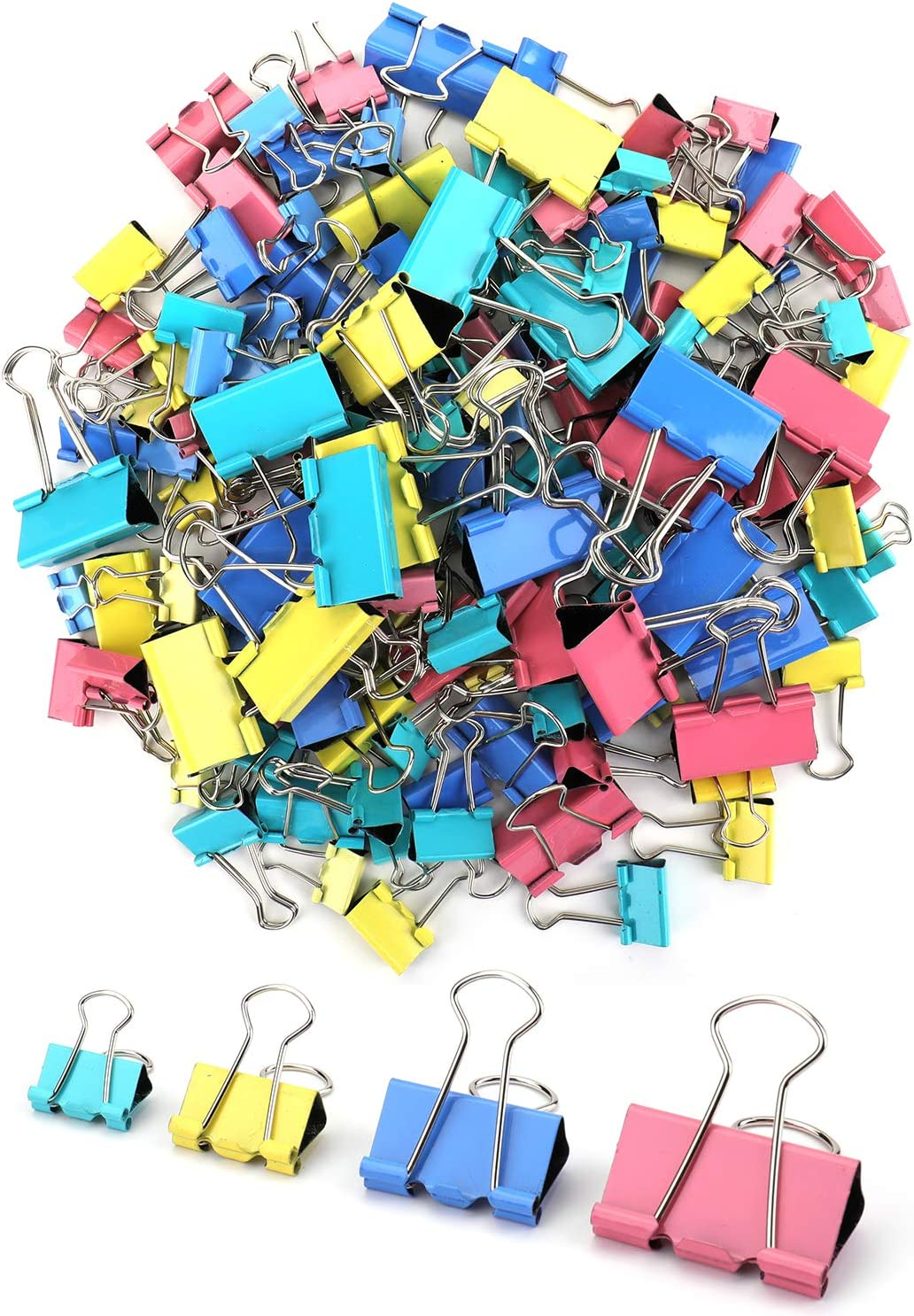 Nicunom 272 Pcs Binder Clips Paper Clamps Assorted 4 Sizes, Assorted Color Paper Binder Clips Metal Fold Back Clips for Office, School and Home Supplies