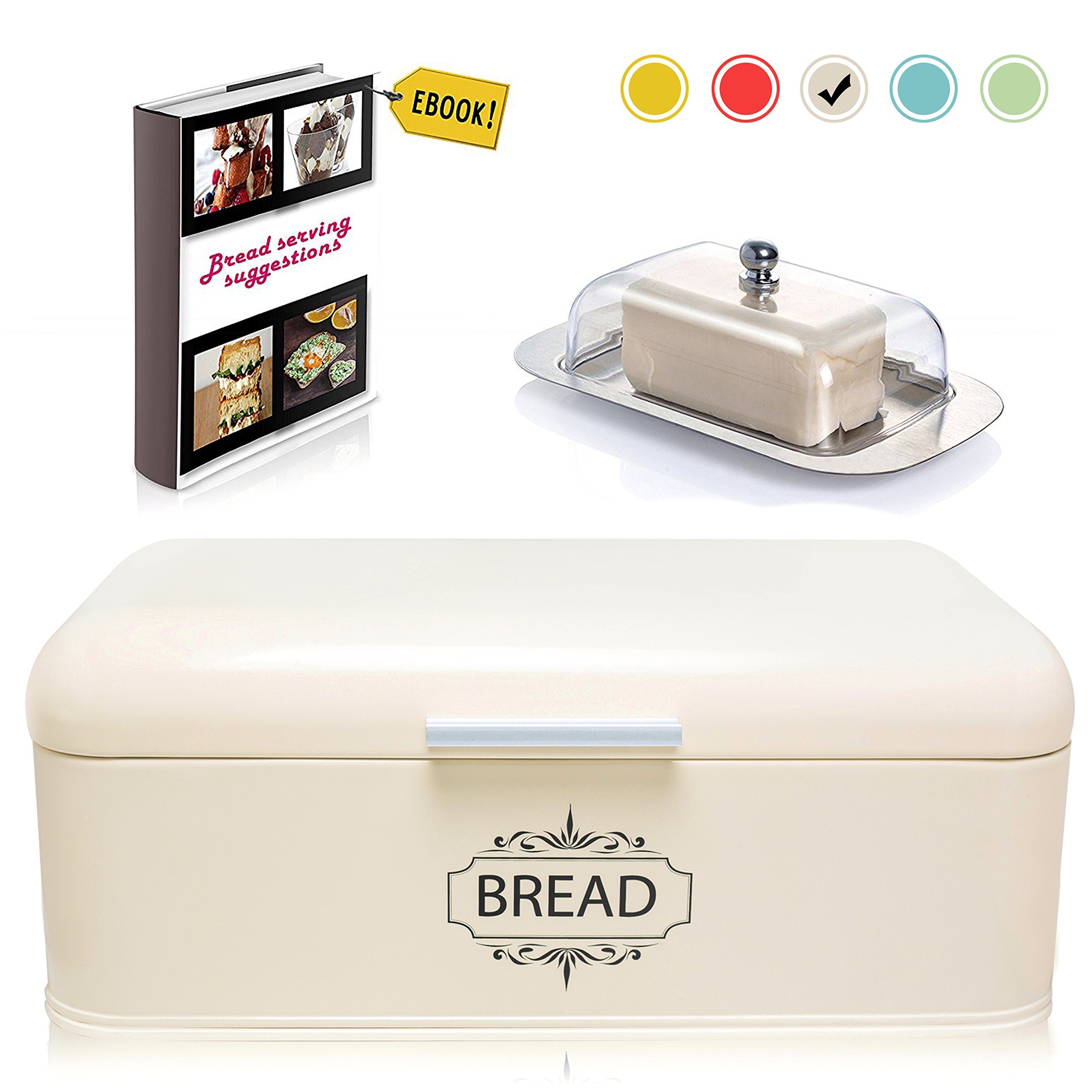 Vintage Bread Box For Kitchen Stainless Steel Metal in Retro Cream Off White + FREE Butter Dish + FREE Bread Serving Suggestions eBook 16.5'' x 9'' x 6.5'' Large Bread Bin storage by All-Green Products