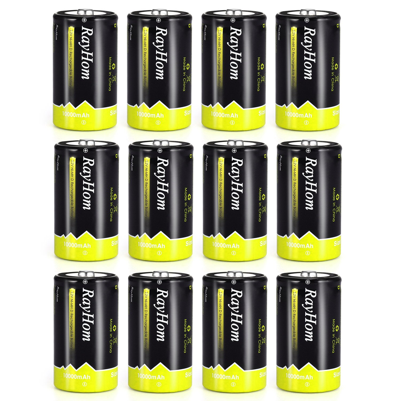 RayHom DBatteriesRechargeable 10,000mAhNi-MHHighCapacity Battery (12 Pack)