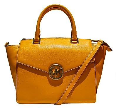 Michael Kors Hudson Vintage Yellow Large Satchel Leather Handbag ...