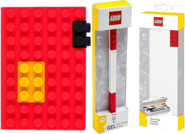 LEGO Stationery – Bolígrafo de gel, color rojo, con construcción ladrillos + lápiz Box y edificio bloques silicona Notebook Bundle Pack: Amazon.es: Oficina y papelería