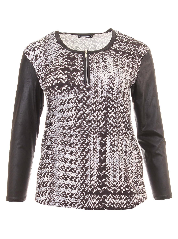 Langarmshirt mit Muster und Ärmeln in Lederoptik in schwarz in Übergrößen (42, 44, 46, 48, 50, 52) von Doris Streich