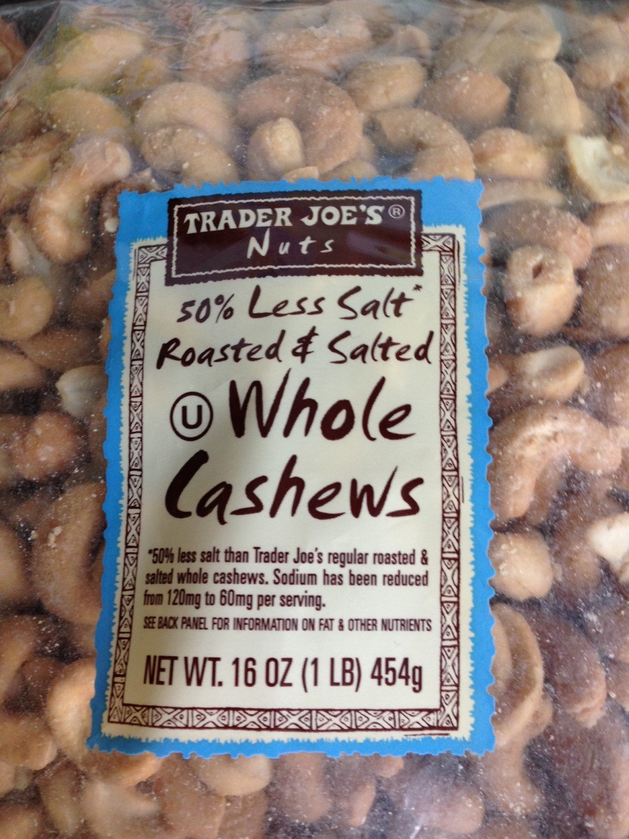 Trader Joe's 50% Less Salt - Roasted & Salted - Whole CASHEWS