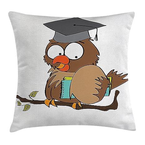 DCOCY Funda de cojín de graduación, divertida ilustración ...