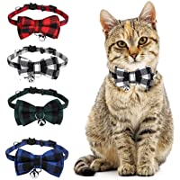 """4 Pcs Cat Collar Bow with Bell, Adjustable Plaid Cat Collar Cat Bow Tie for Kitten Cats Puppy Neck 8""""-11"""" (4 Colors)"""