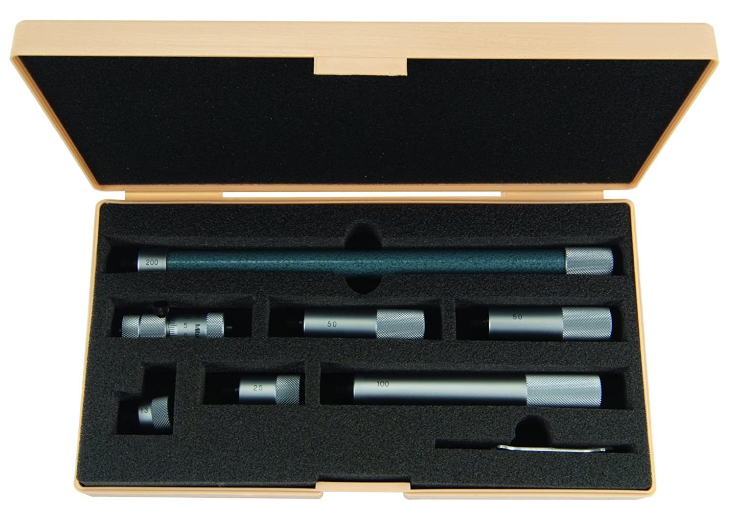 +//-0.019mm Accuracy 50-500mm Range 0.01mm Graduation Mitutoyo 137-208 Tubular Vernier Inside Micrometer Carbide Tipped Face 6 pcs Extension Rods Extension Rod Type