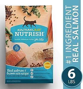 Rachael Ray Nutrish Pack of 2 Natural Dry Cat Food, Salmon & Brown Rice Recipe, 6 lbs