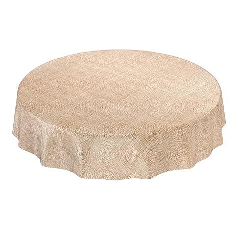 Mantel de Hule encerado a cuadros lavable para mesa, toalla, Gold Beige, Rund