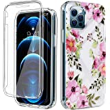 "COANJIUO Women Clear Case Fits iPhone 12 and iPhone 12 Pro (6.1""), with [Built-in Screen Protector], Rugged Flower Pattern Sh"