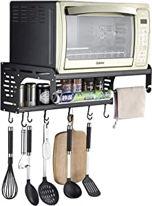 OUDINUO for Christmas Black Multifunctional Double Bracket Aluminum Microwave Oven Wall Mount Shelf with 10 Removable Hooks and Fresh Wrapper Rolls Holder