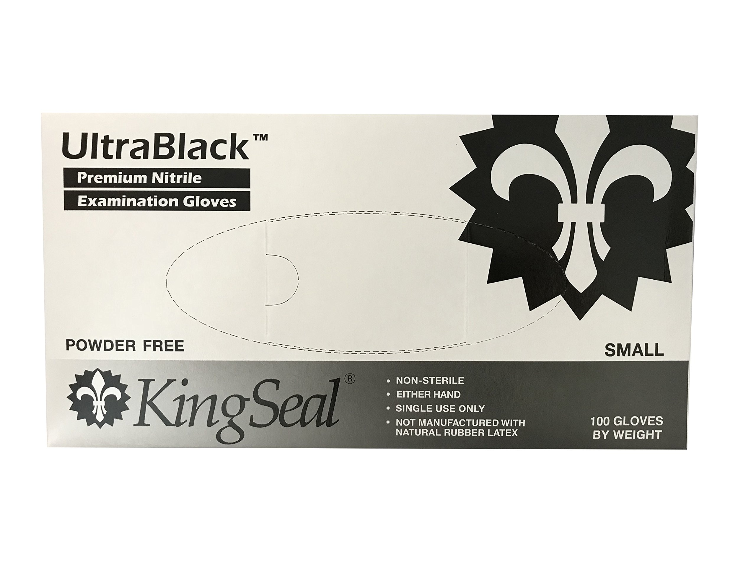 KingSeal Black Nitrile Medical Grade Gloves, Latex Free, 4 mil, Textured, Size Small - 4 boxes of 100 each (400 total)