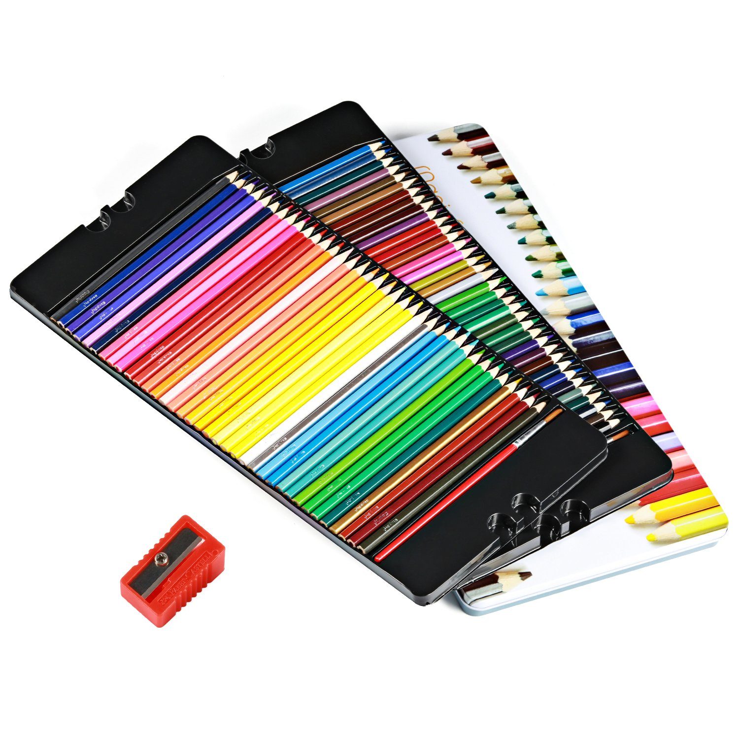 Magicfly Watercolor Pencils, 72 Colored Pencils Set Premier Soft Core with 2 Brushes, Metal Tin Case, and Bonus Pencil Sharper by Magicfly (Image #6)
