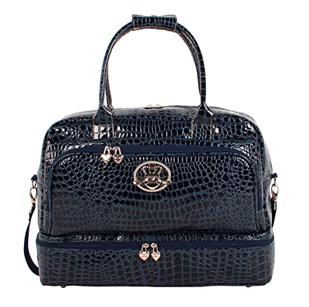 Kathy Van Zeeland 20 Croco PVC Drop Bottom Satchel 20in, Navy