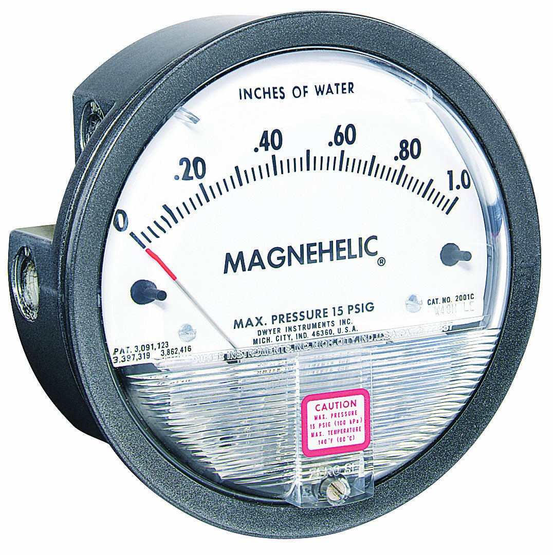 Dwyer Magnehelic Series 2000 Differential Pressure Gauge, Range 0-1.0''WC & 0-250 Pa by Dwyer