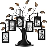 "Bronze Family Tree Frame with 6 Hanging Picture Frames Each Sized 2"" x 3"" with Adjustable Ribbon Tassels"