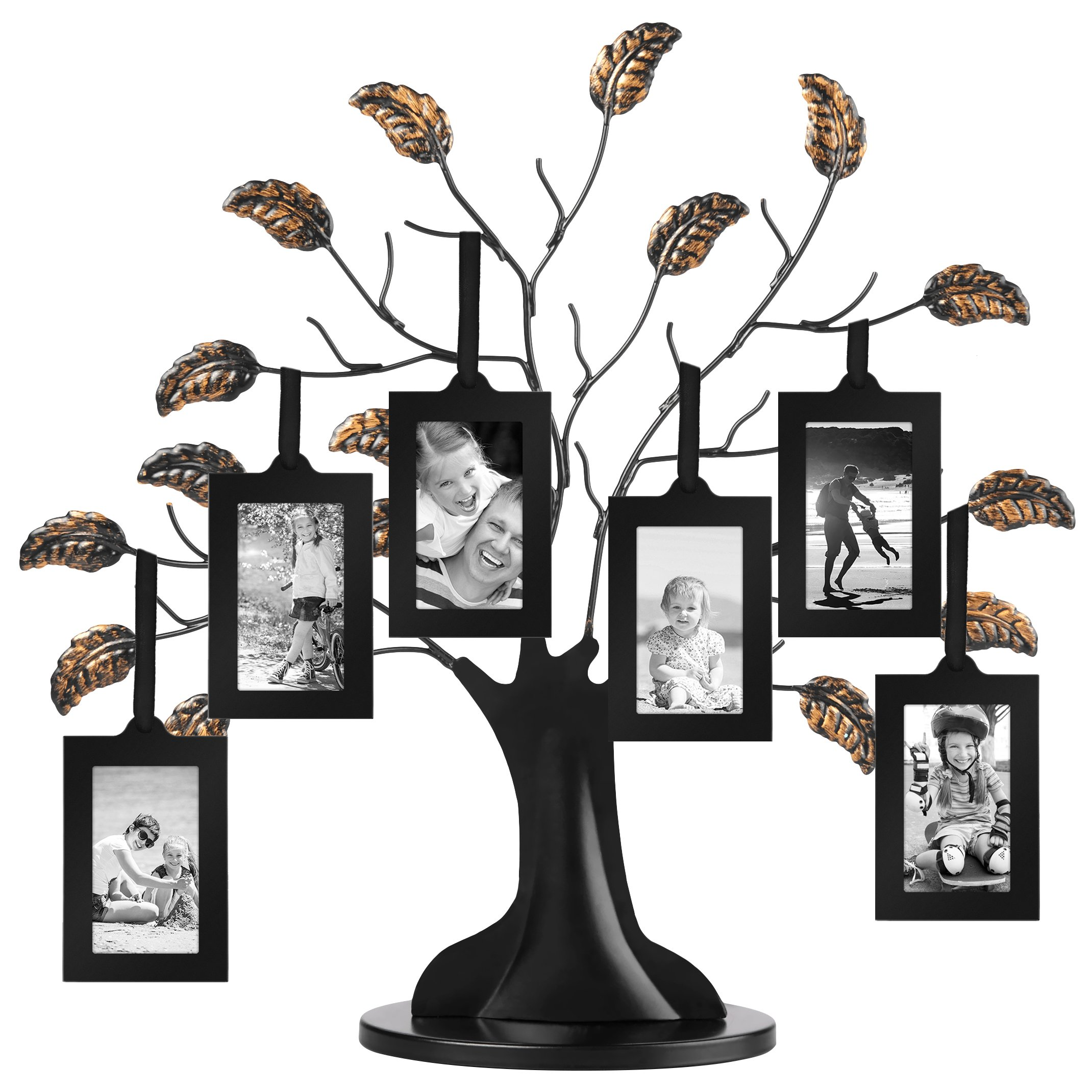 Americanflat Bronze Family Tree Frame with 6 Hanging Picture Frames Each Sized 2''x3'' with Adjustable Ribbon Tassels by Americanflat