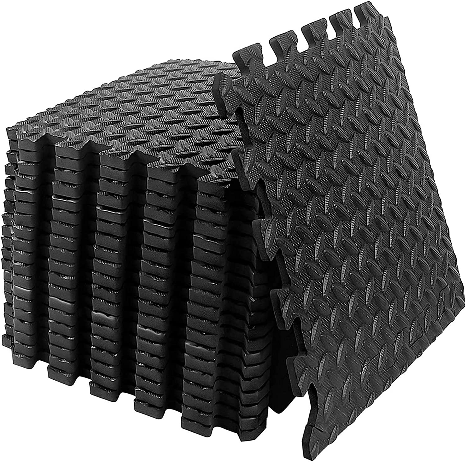 20PCS Puzzle Exercise Floor Mat, Gym Flooring for Home Gym with EVA Foam Interlocking Tiles for Gyms, Yoga, Outdoor Workout, Kids, Foam Thick Workout Mat 20 Square Feet (Black)