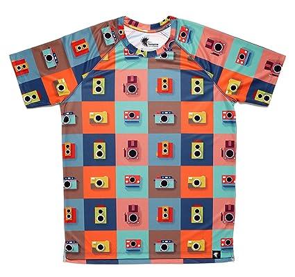 Camiseta Running Divertida Hombre, Manga Corta, Gimnasio #ColorCameras Talla S