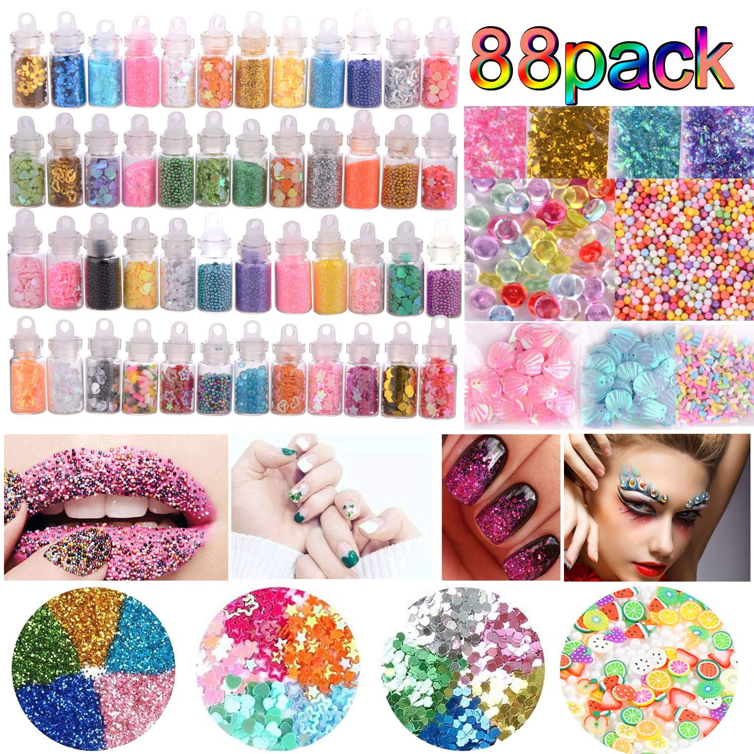 Slime Supplies Kit 88 Pack, Colorful Slime Beads Charms, Foam Balls, Glitter Jars, Fruit Slices, Fishbowl Beads for Slime Making DIY Craft, Girl Slime Party, Kids Toys Decoration DOOLLAND