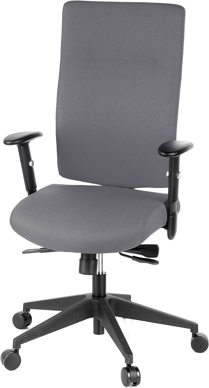 hjh OFFICE 608530 Profi B/ürodrehstuhl PRO-TEC 300 Stoff Grau B/ürosessel ergonomisch Armlehne verstellbar hohe R/ückenlehne