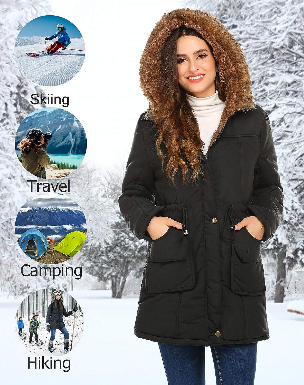 M Meaneor Womens Hooded Warm Winter Faux Fur Lined Parkas Long Coats Black