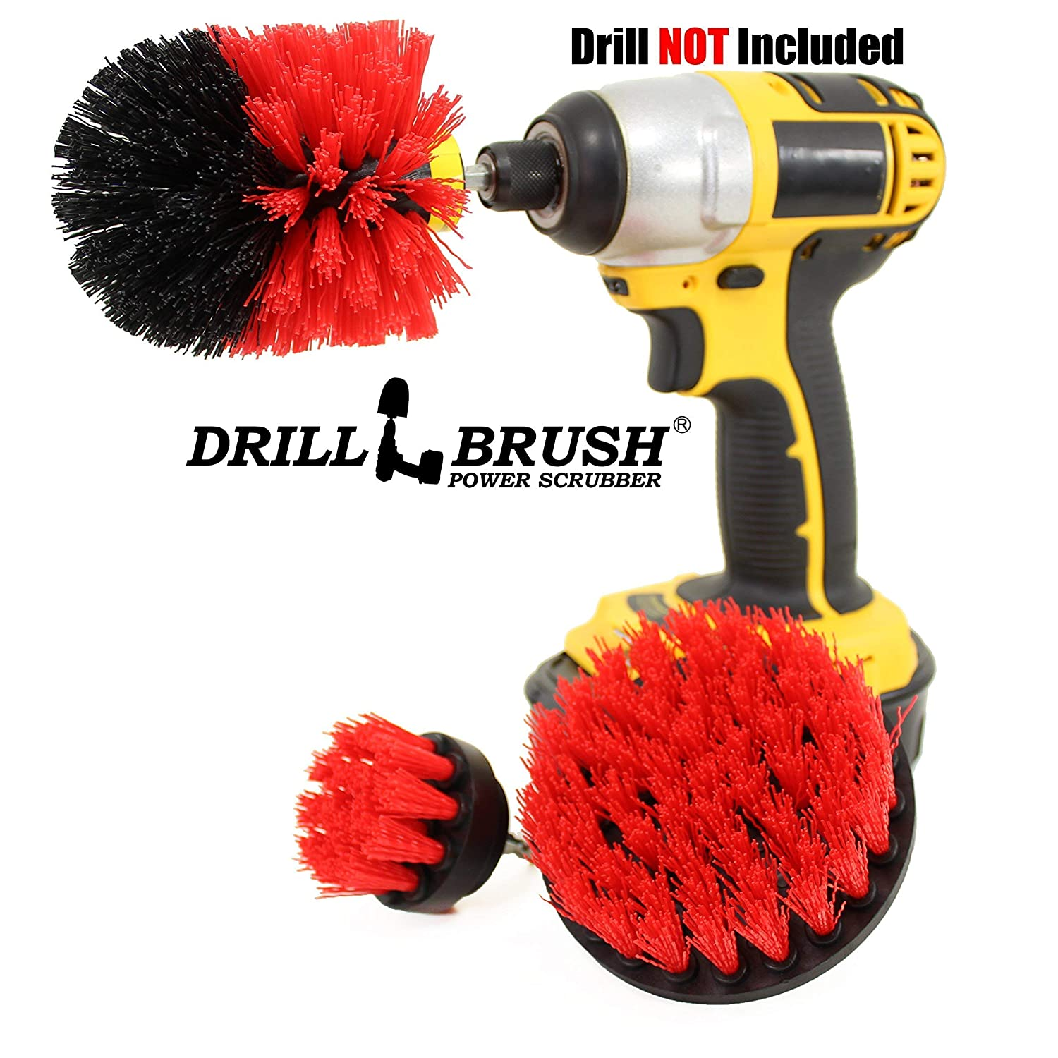 Drillbrush Bathroom Surfaces Tub, Shower, Tile and Grout All Purpose Power Scrubber Cleaning Kit Yellow-Orig-Yel-2-4-Lim-Short