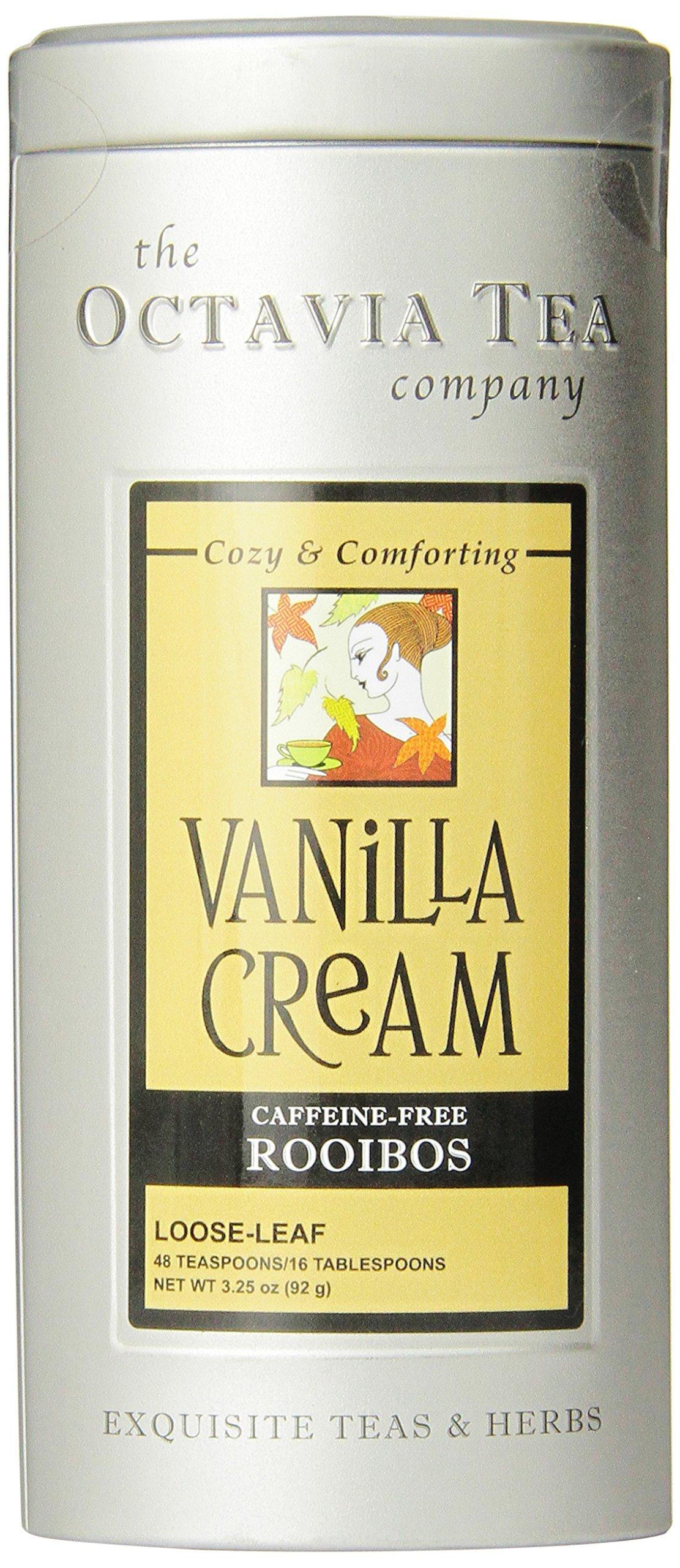 Octavia Tea Vanilla Cream (Caffeine-Free Red Tea/Rooibos) Loose Tea, 3.25 Ounce Tin