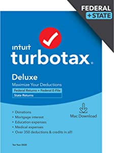 TurboTax Deluxe 2020 Desktop Tax Software, Federal and State Returns + Federal E-file (State E-file Additional) [Amazon Exclusive] [MAC Download ]