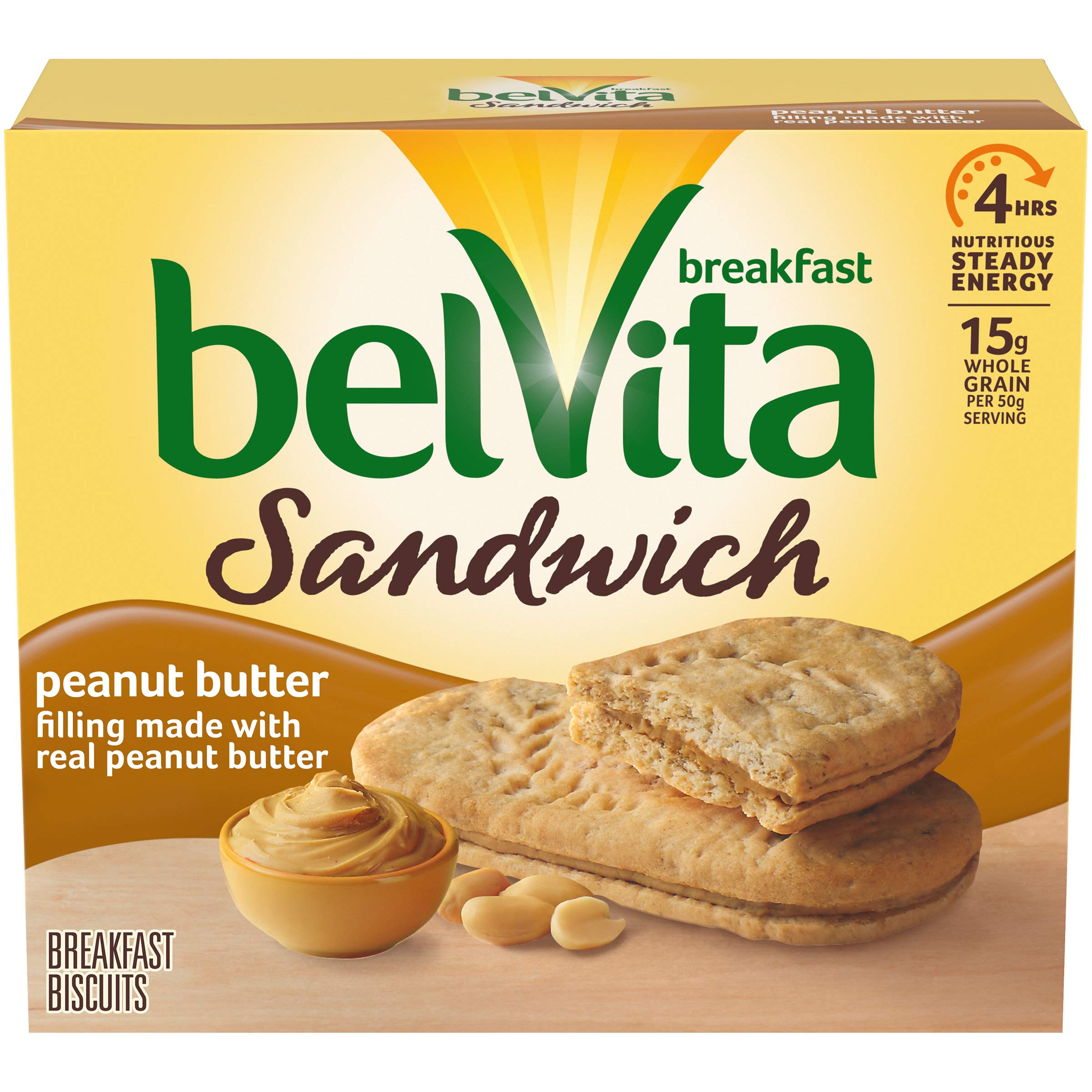 belVita Sandwich Peanut Butter Breakfast Biscuits, 5 Packs (2 Sandwiches Per Pack)