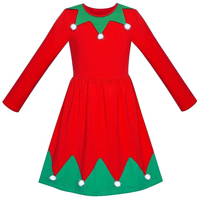 7c48e22f9b4e7 Girls Dress Christmas Santa Hat Long Sleeve Party Year Age 5-10 Years   Amazon.co.uk  Clothing