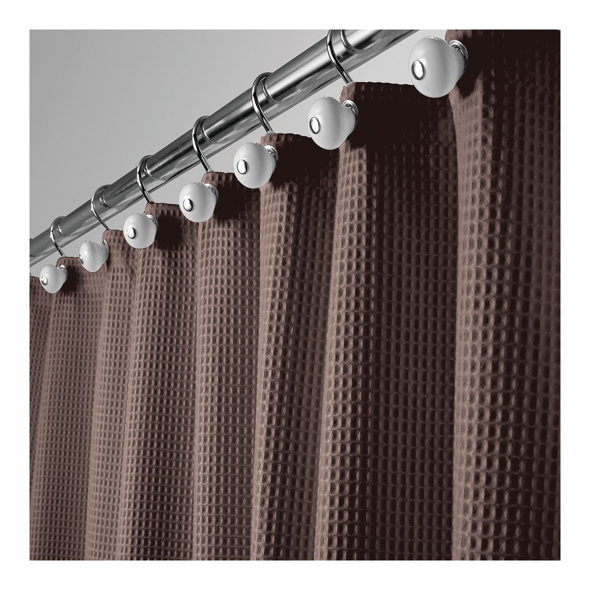 mDesign Long Hotel Quality Polyester/Cotton Blend Fabric Shower Curtain, Rustproof Metal Grommets - Waffle Weave for Bathroom Showers and Bathtubs - 72'' x 84'', Chocolate Brown