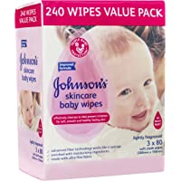Johnson's Baby Wipes Skincare Lightly Scented (Pack of 3x80)