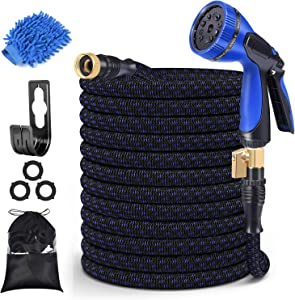 MURLONG Garden Hose 100ft Expandable Water Hose with 10 Function Spray Nozzle,Leakproof Lightweight Flexible Water Hose with Solid Brass Fittings,Extra Strength 3750D Durable Gardening Flexible Hose