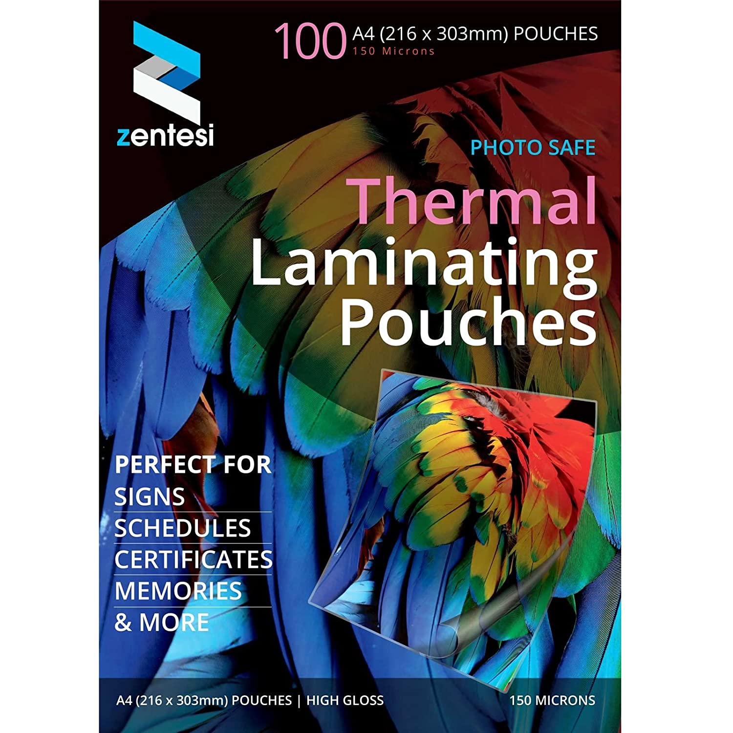 Zentesi A4 Laminating Pouches High Gloss Laminator Sleeves 150 Micron (75 + 75 Microns) Glossy Laminate Pouch Sheets - Pack of 100