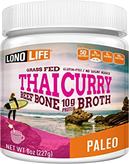 product image for LonoLife Thai Curry Beef Bone Broth Powder with 10g Protein, Paleo and Keto Friendly, 8-Ounce Bulk Container
