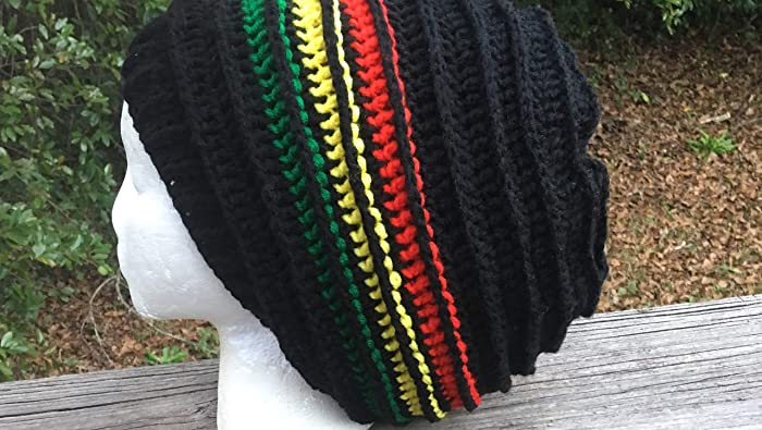 0253da8cf67 Amazon.com  Black red yellow green hippie dreads dreadlocks locs Rasta  Jamaican slouch beanie tam hat  Handmade