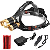 30000 lumens Headlamp Zoom Cree 3X XML T6 Led Torch Lamp Head Light 18650 Battery Outdoor
