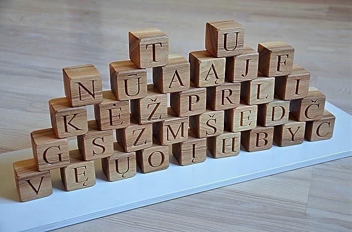 Amazon Com 32 Lithuanian Alphabet Wood Blocks Abc Wood Block