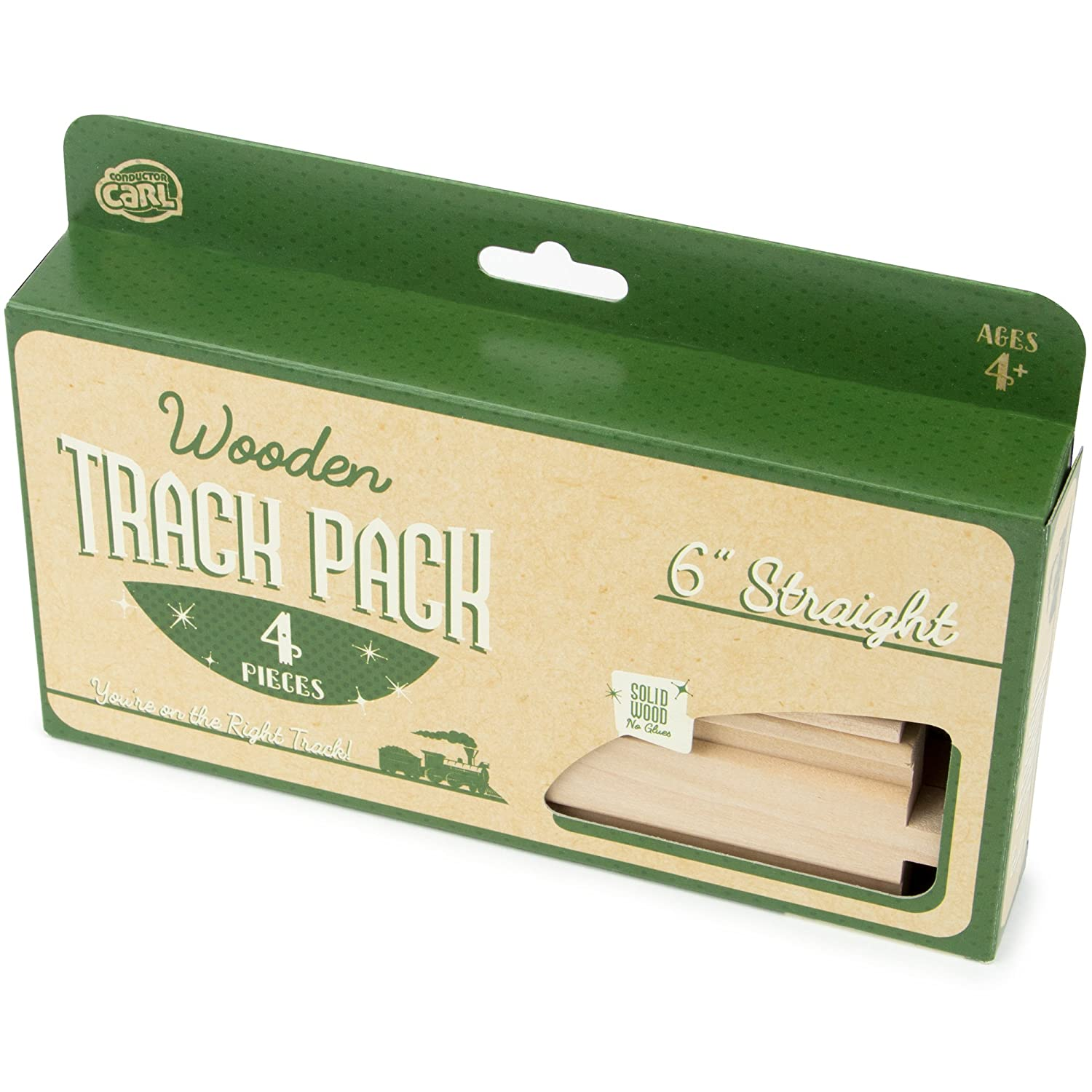 4-piece 6 Straight Wooden Train Track Value Booster Pack Compatible with All Major Toy Train Brands by Conductor Carl