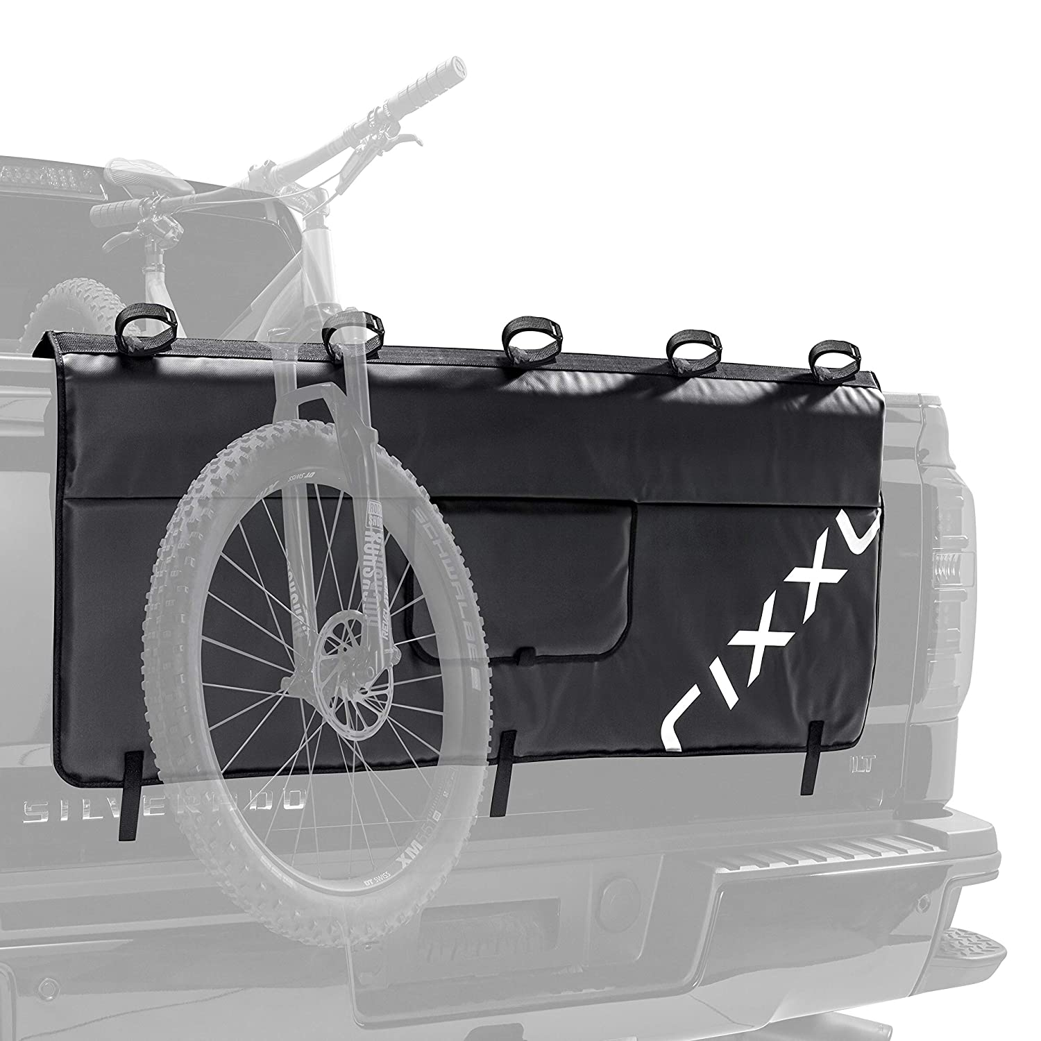 Tailgate Pad Cover for Bikes - 54' Weatherproof Secure Gatekeeper Bicycle Transport Pad with 5 Mounting Points for mid-size pickups - Black Rixxu