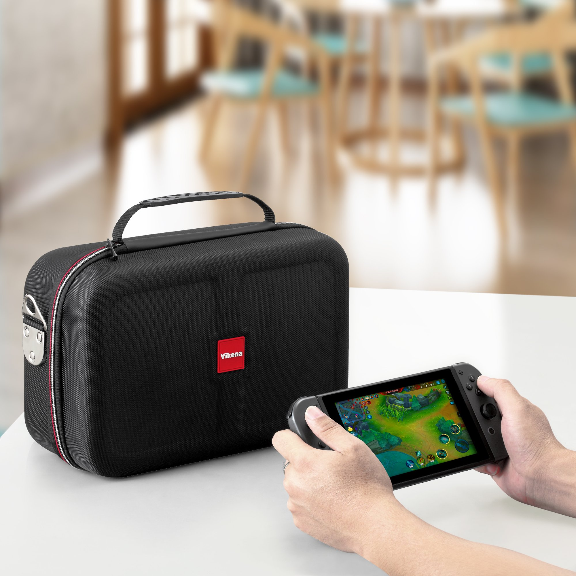 Vikena Deluxe Travel and Storage Case for Nintendo Switch,Game Carrying Case fit for Switch Pro Controller,Switch Console and Accessories,Black by Vikena (Image #6)
