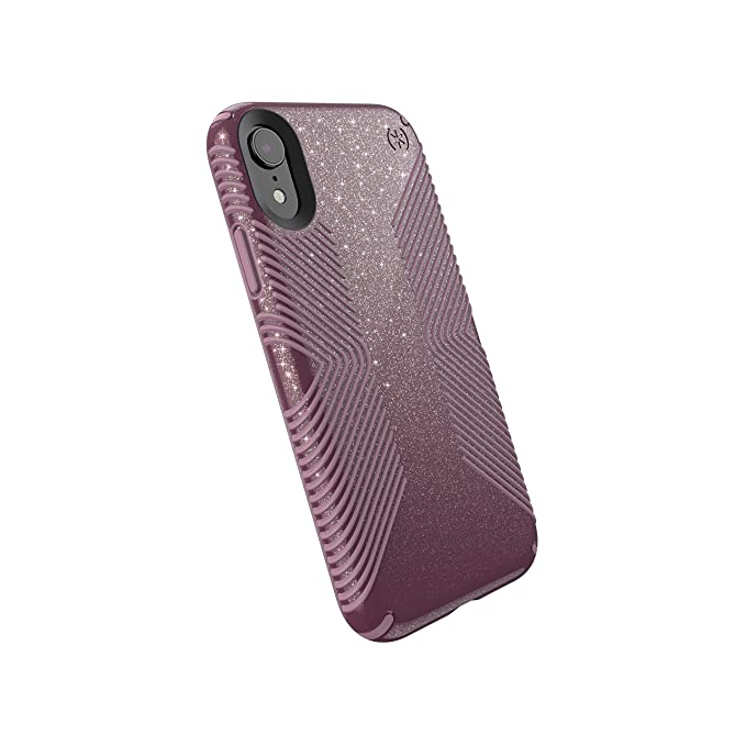 quite nice 7a2e3 0200b Speck Products Compatible Phone Case for Apple iPhone XR, Presidio Grip +  Glitter Case, Starlit Purple with Gold Glitter/Cattleya Pink
