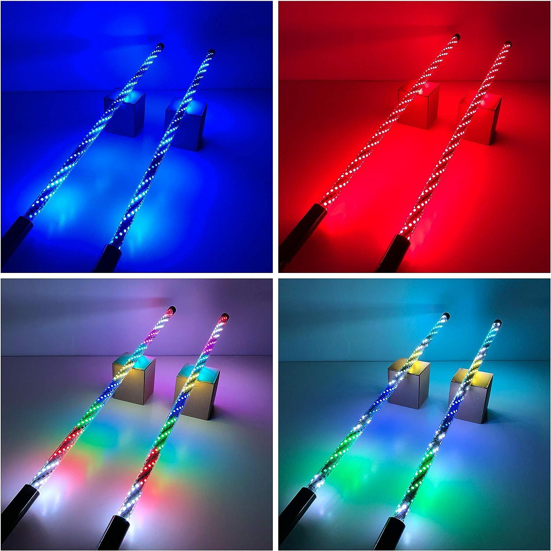 Vivid Light Bars 2pc 2ft LED Whip Lights Bluetooth APP Control 360 Twisted Chasing Color RGB Light Whip Antenna for ATV UTV RZR Off Road Polaris Trucks Dunes
