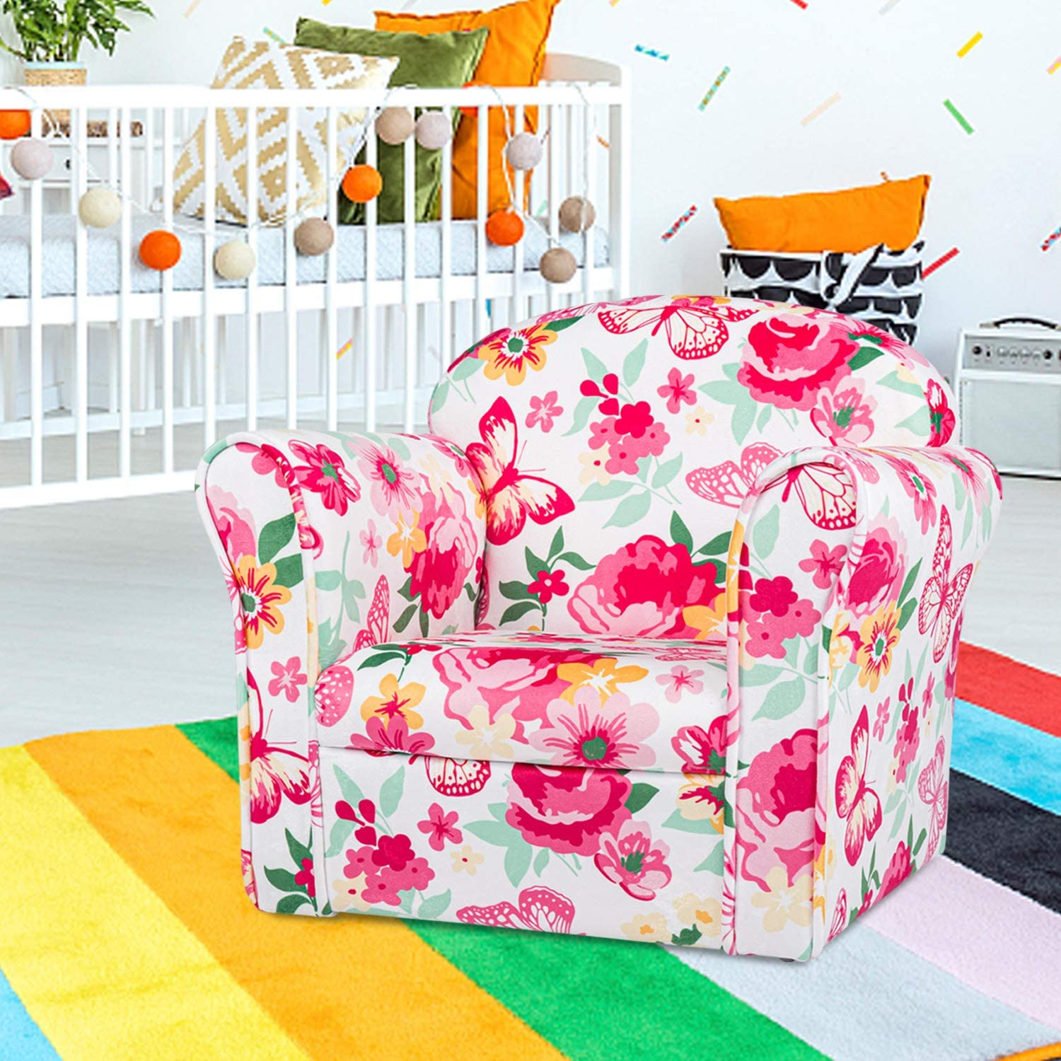Kinbor Baby Child/'s Armchair Butterfly Kid/'s Cartoon Sofa w//Wooden Frame Fabric Cover Toddler Furniture Roundy Armrest Chair