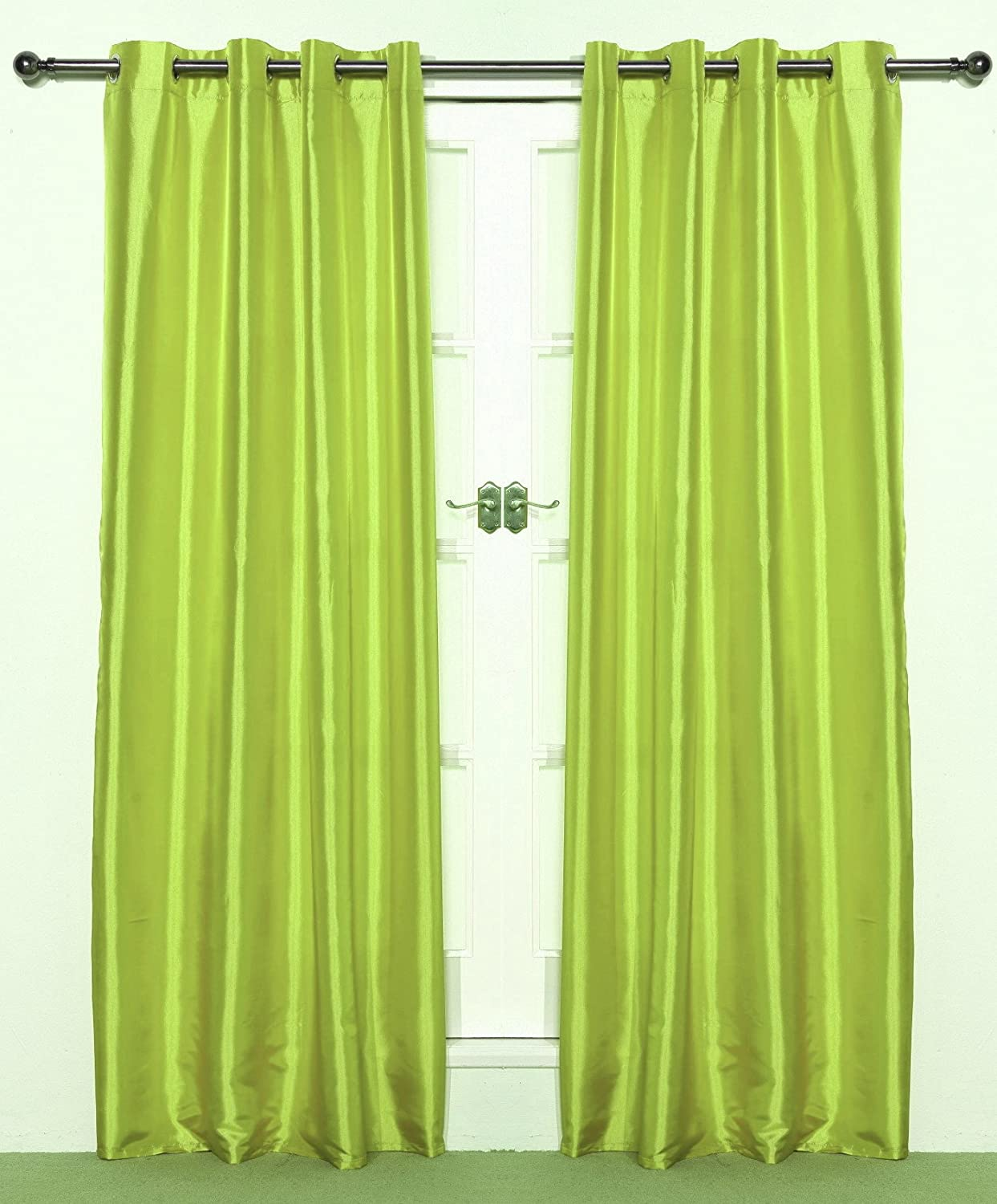 Lime Green Pair Of Eyelet Taffeta Curtains Drop Amazon Co Uk