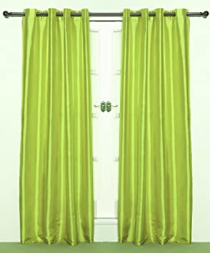 Green Curtains amazon green curtains : LIME Green pair of Eyelet TAFFETA Curtains 90